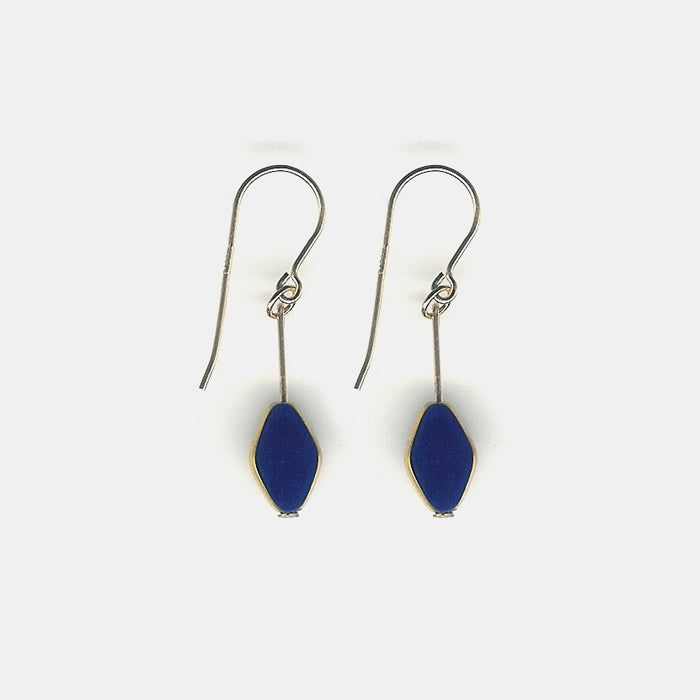 Navy Diamond Shaped Drop Earrings