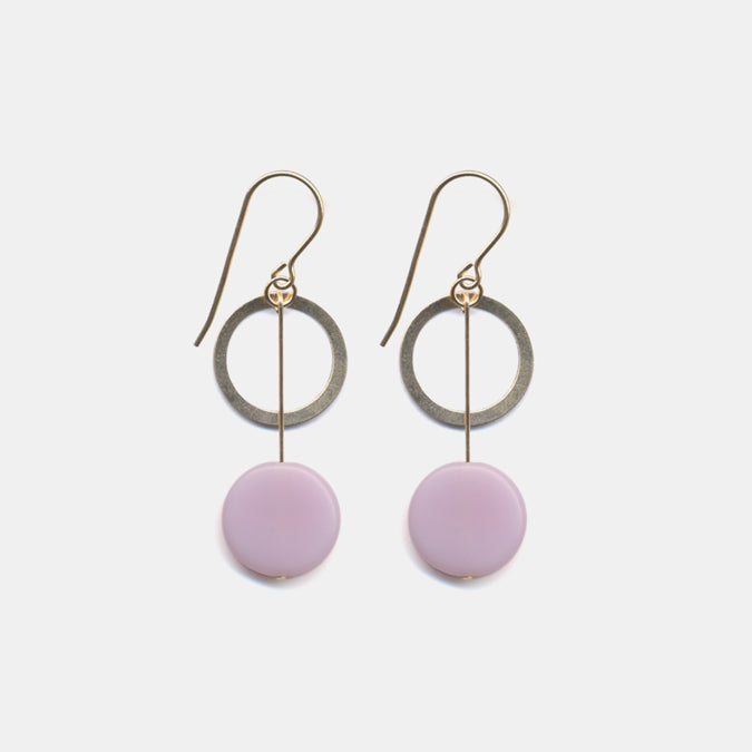 Pink Circle Drop with Gold Ring Earrings