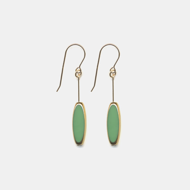 Green Ellipse Drop Earrings