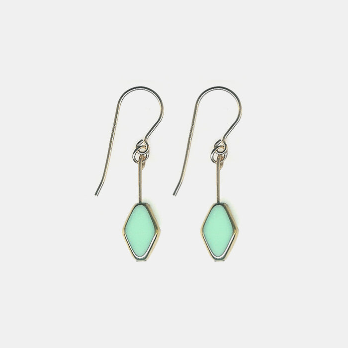 Aqua Diamond Shaped Drop Earrings