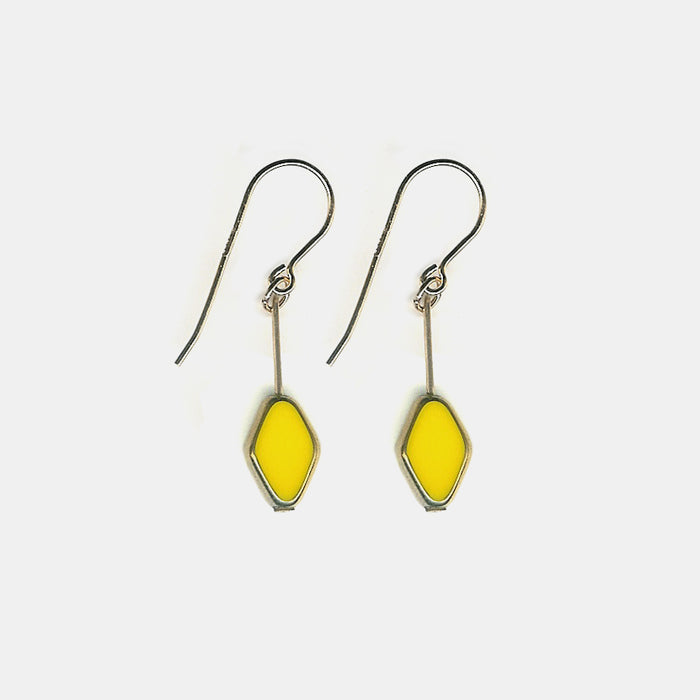 Yellow Diamond Shaped Drop Earrings