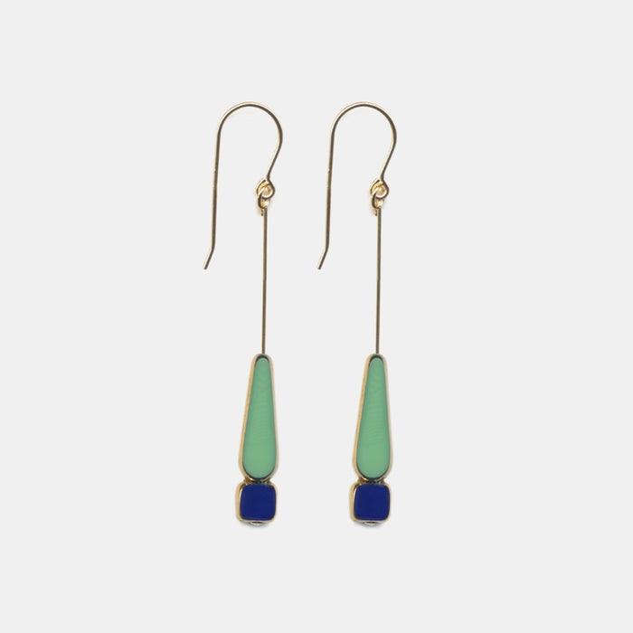 Green Teardrop with Navy Drop Earrings