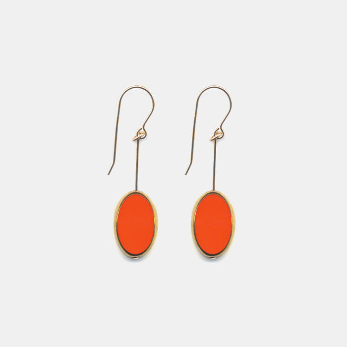 Large Coral Oval Drop Earrings