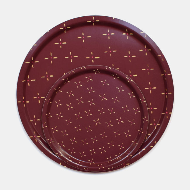 Round designer tray in Scandinavian tray style in maroon red burgundy vintage wallpaper print for dining or home decor - Collyer's Mansion