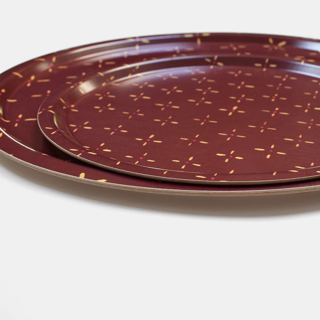 Burgundy Antique Diamond Tray, round