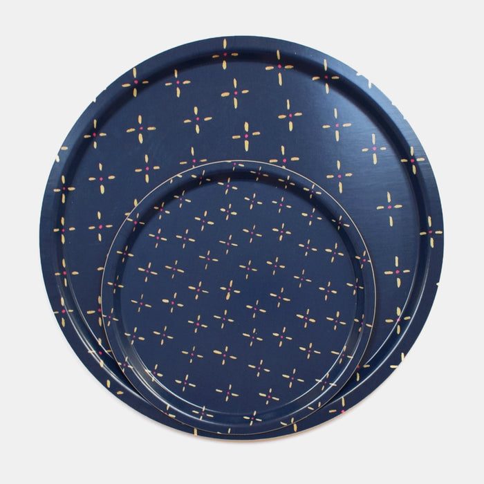 Round designer tray in Scandinavian tray style in navy blue vintage wallpaper print for dining or home decor - Collyer's Mansion