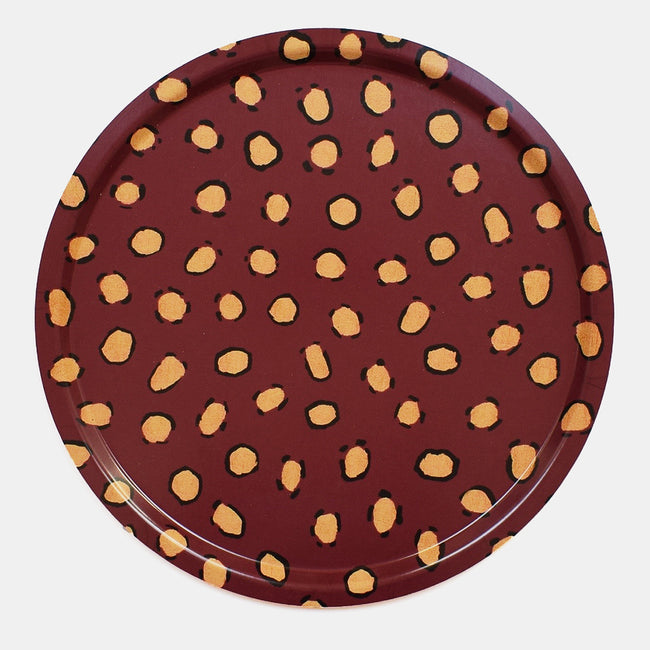 Round designer tray in Scandinavian tray style in maroon burgundy with animal print for dining or home decor - Collyer's Mansion