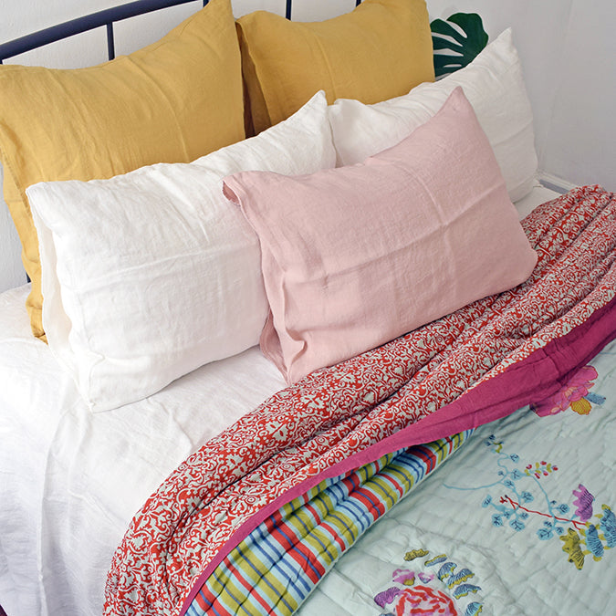 Linge Particulier Yellow Gold Euro Linen Pillowcase Sham for a colorful linen bedding look in honey gold - Collyer's Mansion