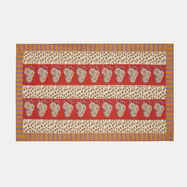 Leopard Stripes Rust Tablecloth