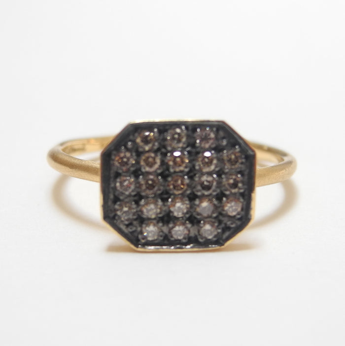 18k Brown Diamond Large Octagon Ring