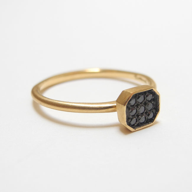 18k Black Diamond Octagon Ring