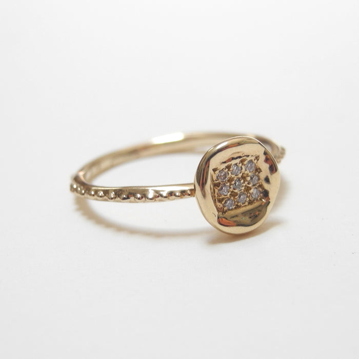 18k Gold Diamond Button Ring