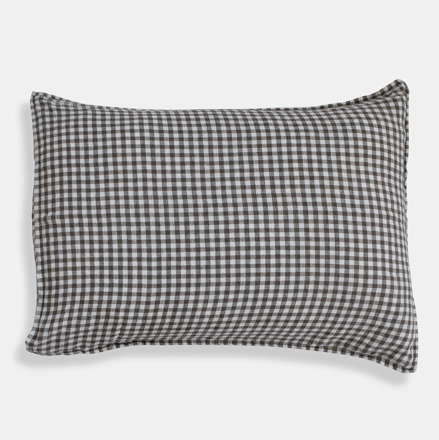 Linen Standard Pillowcase, brown gingham