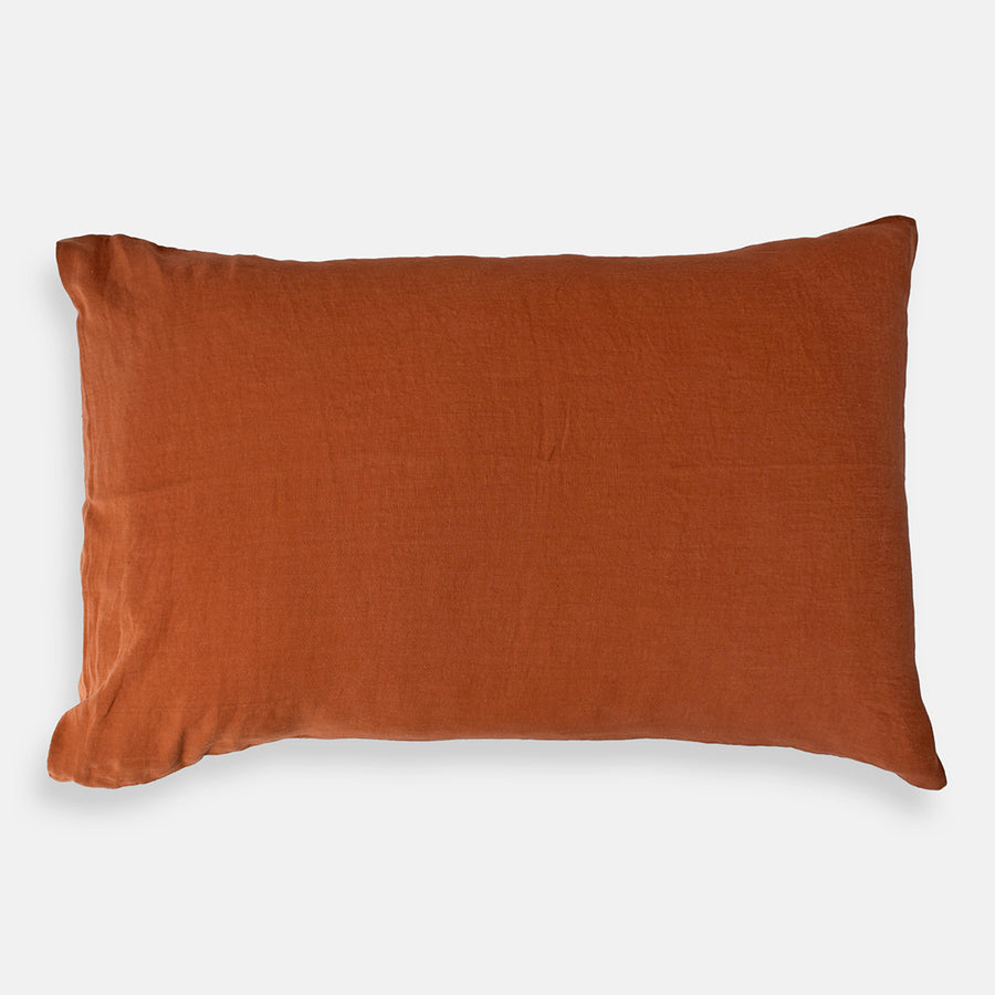 Linge Particulier Sienna Orange Standard Linen Pillowcase Sham for a colorful linen bedding look in burnt orange - Collyer's Mansion