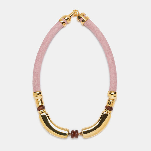 Saddle Necklace in Light Pink