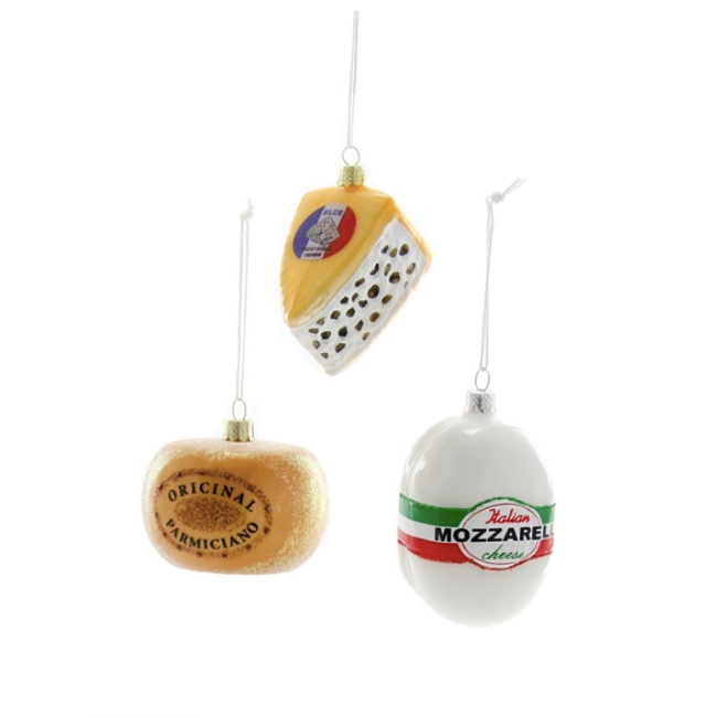 Glass Cheese Ornament, assorted