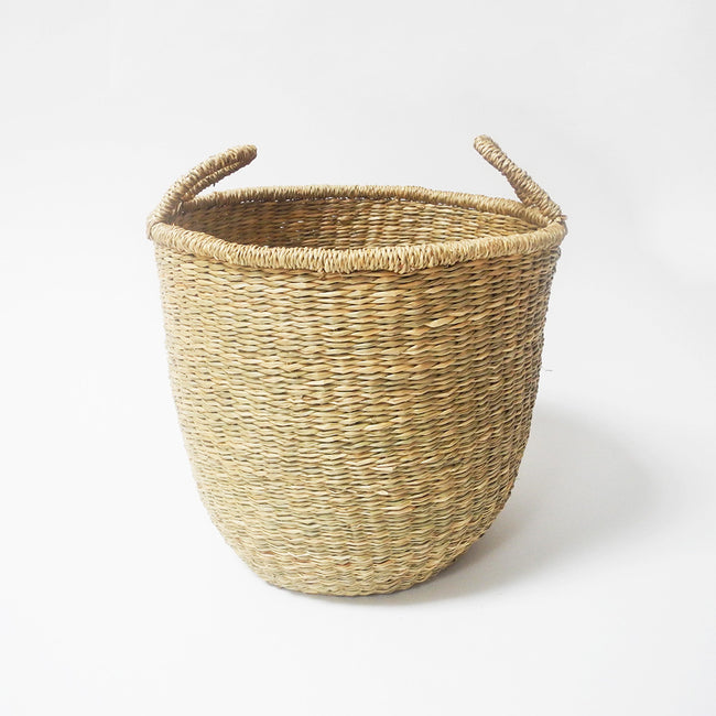 Tall woven floor basket in seagrass natural color with handles for boho home decor and planting - Collyer's Mansion