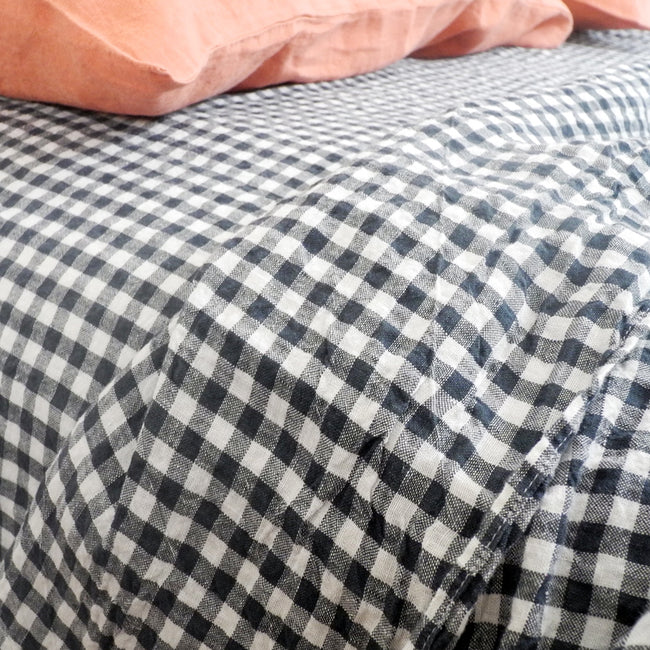 Linen Flat Sheet, anthracite gingham, Sheet, Linge Particulier, Collyer's Mansion - Collyer's Mansion