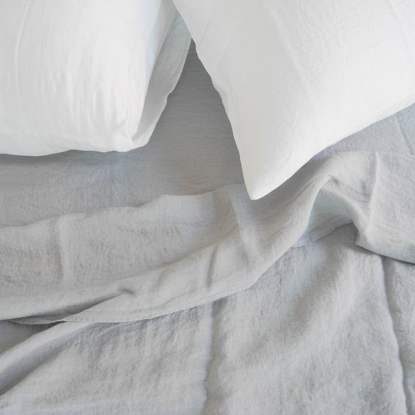 Linen Flat Sheet, cloud grey