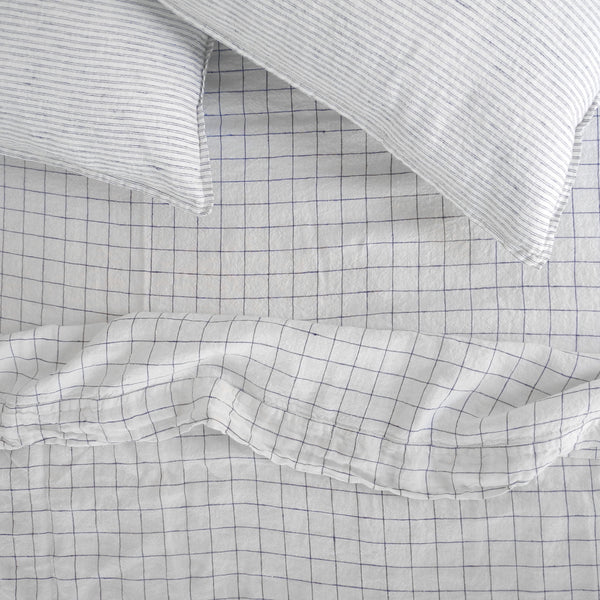 Linen Flat Sheet, navy check