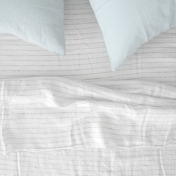 Linen Flat Sheet, tennis stripe