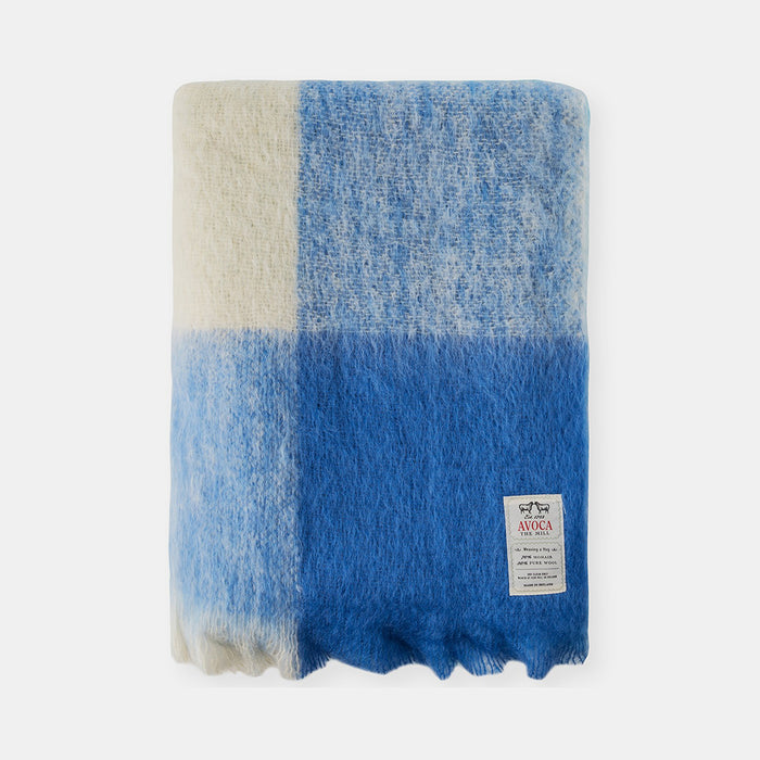 Sky Plaid Mohair Throw