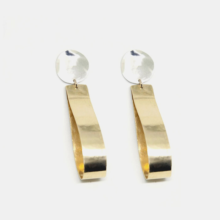 Slantt Claudia Earrings are beautiful brass hoops with sterling silver and are the perfect statement earrings - Collyer's Mansion