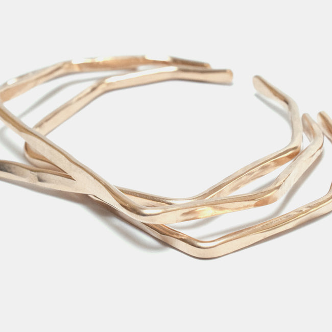 Slantt Hex Cuff Bracelet in 14k gold fill is a great for sculptural statement jewelry - Collyer's Mansion