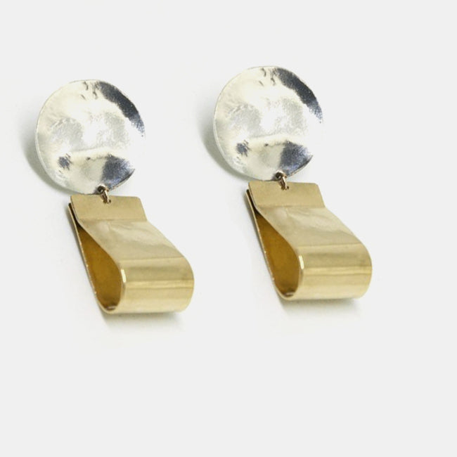 Slantt Petite Claudia Earrings are beautiful brass hoops with sterling silver and are the perfect statement earrings - Collyer's Mansion