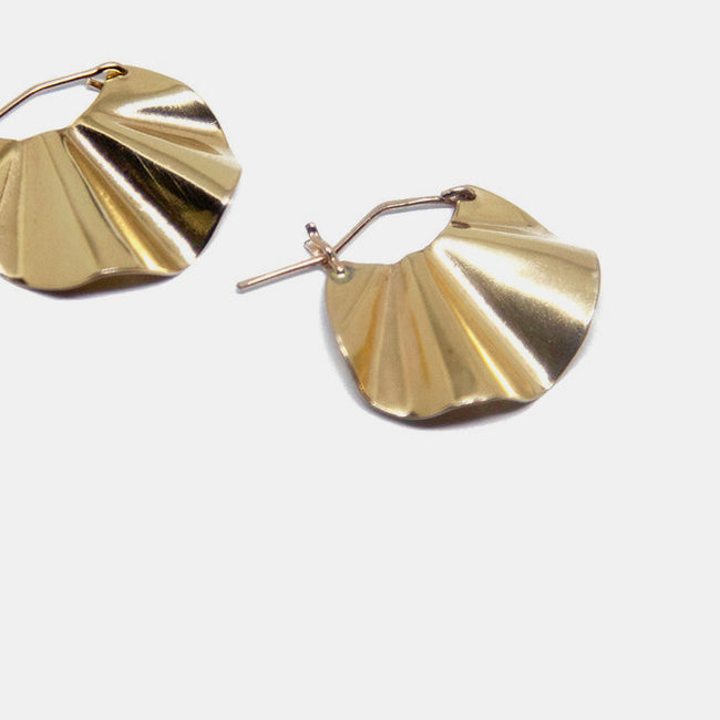 Slantt Petite Petite Dani Earrings are beautiful brass ruffle hoops and are the perfect statement earrings - Collyer's Mansion