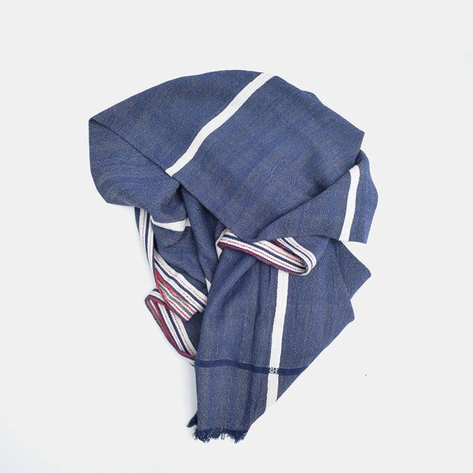 Solid Blue with White Stripe Cotton Throw by Moismont at Collyer's Mansion