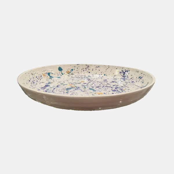 Ceramic Serving Platter, blue splatter