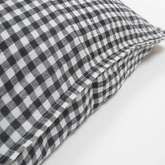 Linen Standard Pillowcase, anthracite gingham, Pillowcase, Linge Particulier, Collyer's Mansion - Collyer's Mansion