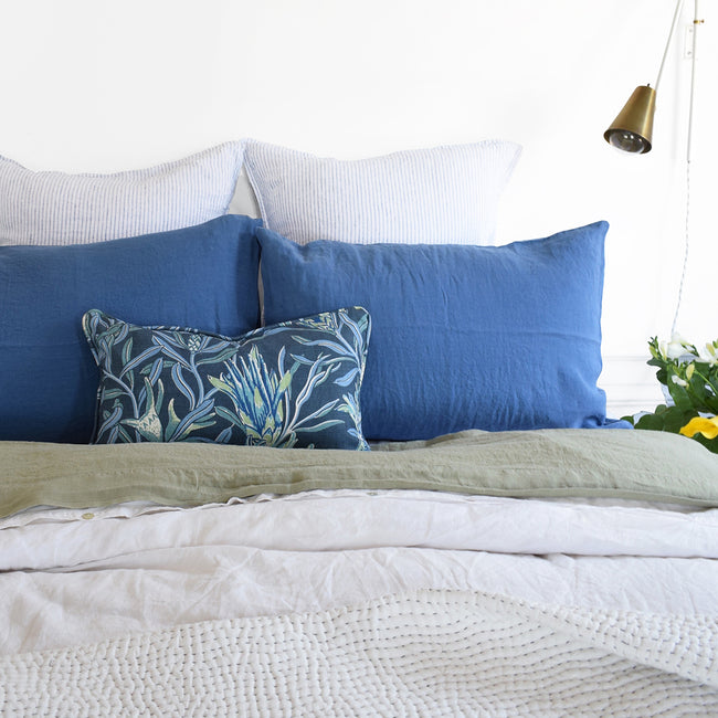 Linge Particulier Atlantic Blue Standard Linen Pillowcase Sham with Utopia Goods pillow and green linen sheet for a colorful linen bedding look in electric blue - Collyer's Mansion
