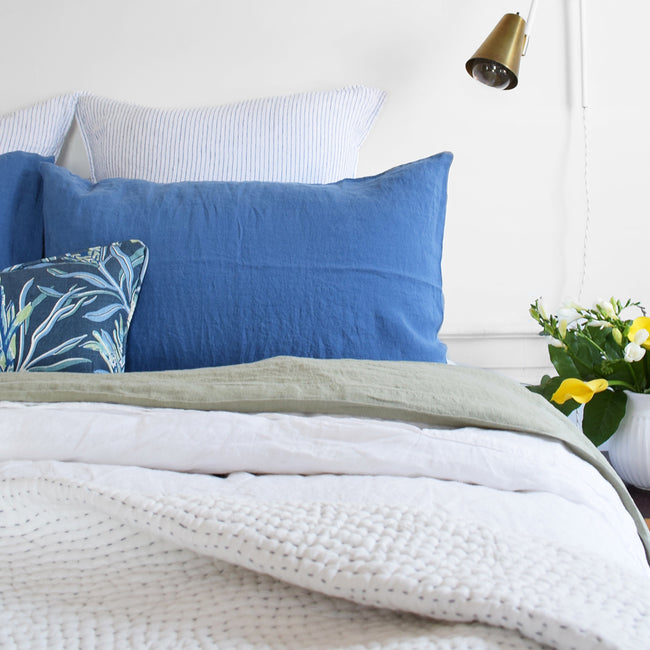 Linge Particulier Atlantic Blue Standard Linen Pillowcase Sham with Utopia Goods pillow and blue stripe euro shams for a colorful linen bedding look in electric blue - Collyer's Mansion