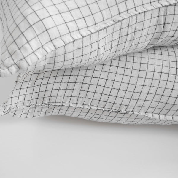Linen Standard Pillowcase, black check