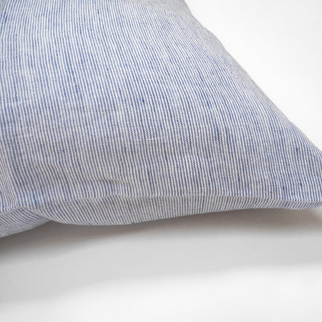 Linge Particulier Blue Thin Stripe Standard Linen Pillowcase Sham for a colorful linen bedding look in small stripe pattern - Collyer's Mansion
