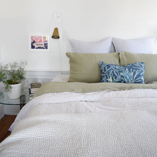 Linge Particulier Fennel Green Standard Linen Pillowcase Sham with Utopia Goods pillow and blue stripe euro shams for a colorful linen bedding look in olive green - Collyer's Mansion