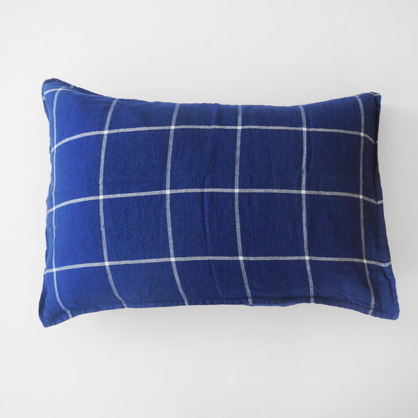 Linen Standard Pillowcase, tartan blue