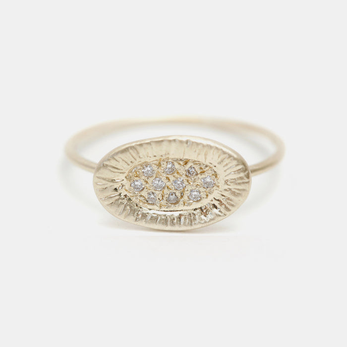 White Diamond Sunburst Ring