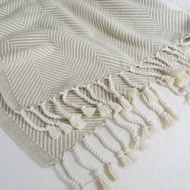 Cotton Herringbone Throw, stone, Throw, Brahms Mount, Collyer's Mansion - Collyer's Mansion