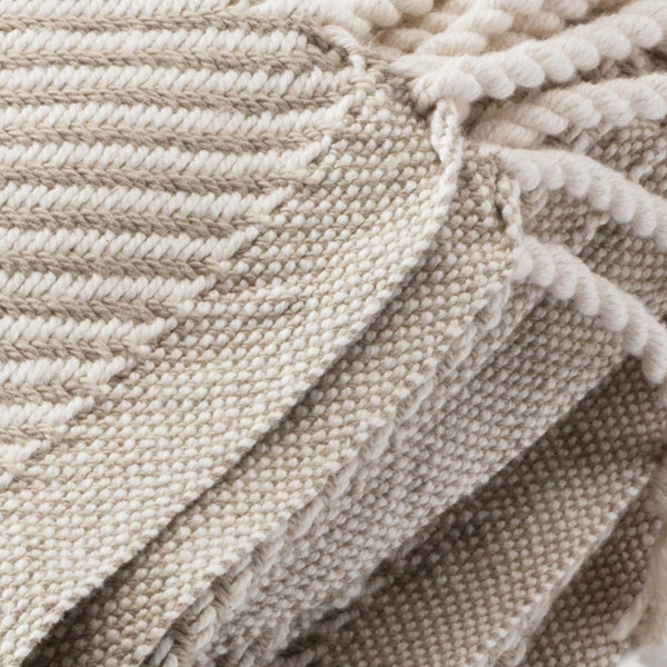Cotton Herringbone Throw, stone