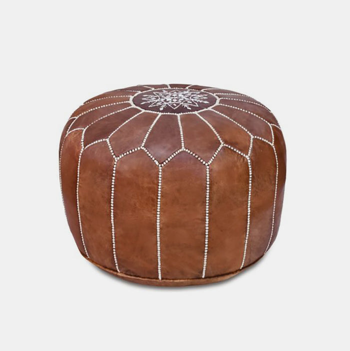 Moroccan Leather Pouf, tan