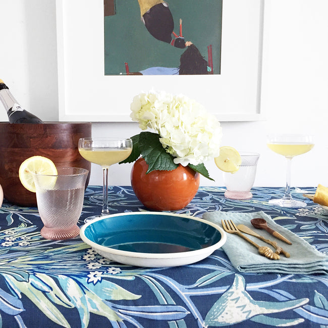 Blue Pheasant PIerre Pink Tumbler Glass on Utopia Goods tablecloth for colorful tablescapes - Collyer's Mansion
