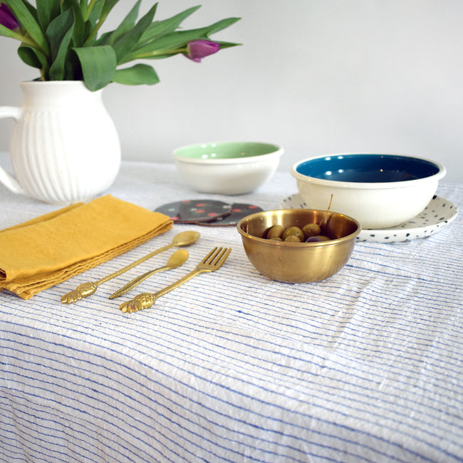 Linen Tablecloth, atlantic blue stripe, Tablecloth, Linge Particulier, Collyer's Mansion - Collyer's Mansion