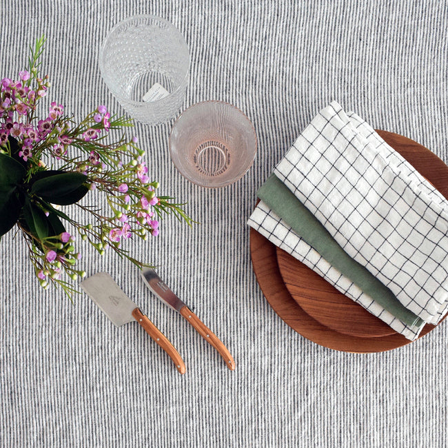 Linen Napkin, black check