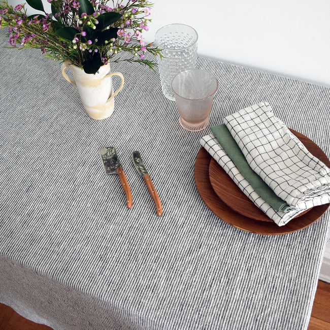 Linen Tablecloth, black stripe