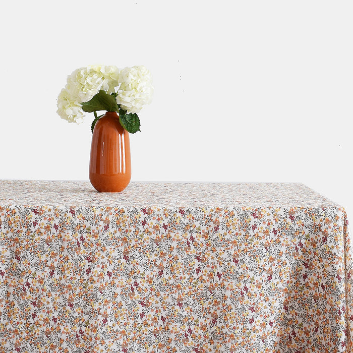Linen Tablecloth, curry flowers