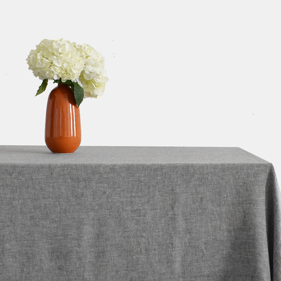 Linen Tablecloth, grey chambray