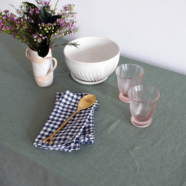 Blue Pheasant PIerre Pink Tumbler Glass on green french linen tablecloth for elegant tablescapes - Collyer's Mansion